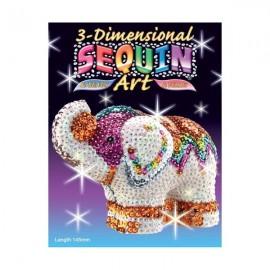 Elefante Sequin art en 3D