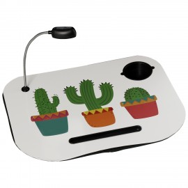 Bandeja ordenador con lámpara cactus