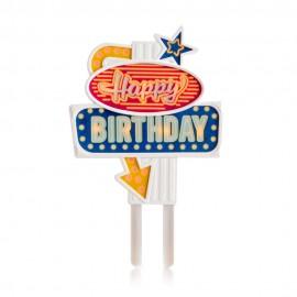 Letrero Happy Birthday con luz