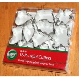 12 mini cortadores galletas navidad