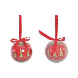 Set de 6 bolas de decoración rojo