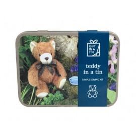 Teddy set in a tin