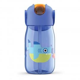 Botella niños pajita 400 ml Tiburón Azul