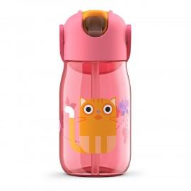 Botella niños pajita 400 ml Gato rosa