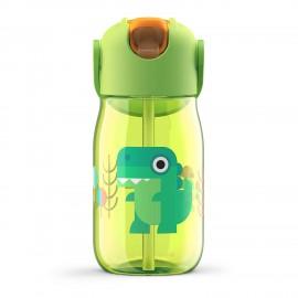 Botella niños pajita 400 ml Cocodrilo Verde