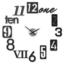 Reloj de pared numbra de pegar Negro