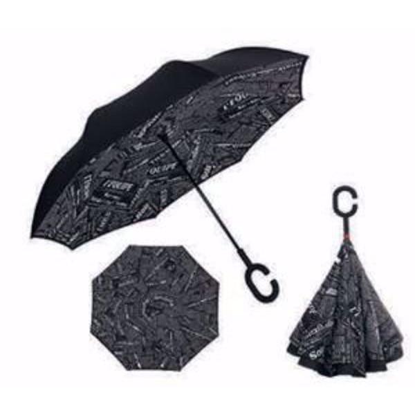 Paraguas periódico negro reversible anti viento