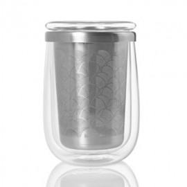 Mug de cristal con tapa y filtro de té
