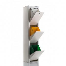 Contenedor Basura Ecologico Acero Lacado Cubek 3 Compartimentos Blanco