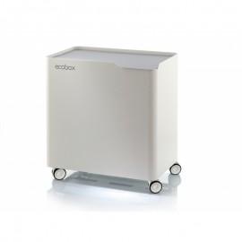 Contenedor Basura Ecologico Acero Lacado Eco-Box 4 Compartimentos Blanco