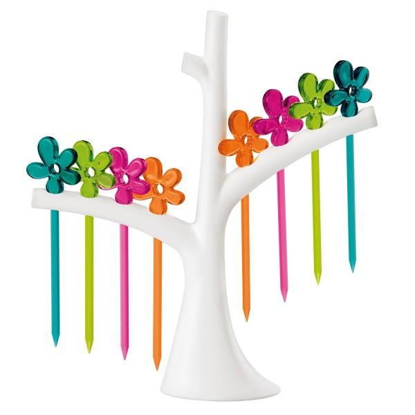 Set de pinchos para aperitivos con soporte en forma de árbol