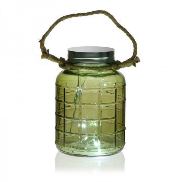 Botella con luces led verde