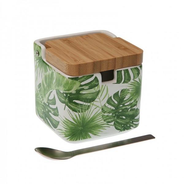 Azucarero con tapa de bambú