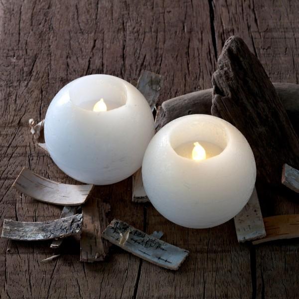 Velas led decorativas Sirius Mona 8 cm blanca