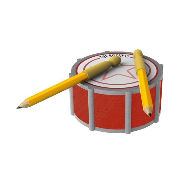Notas adhesivas y lápices con forma de tambor y baquetas