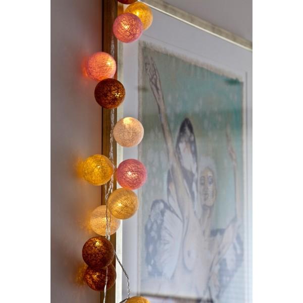 20 Bolas decorativas con luz led bolette blush